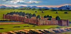 Fort San Bernardino depicted in a 1976 painting by Hazel C. Olson