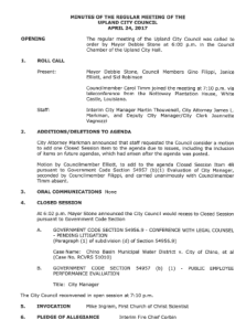 Above is the first page of Exhibit A,  the minutes to the April  24, 2017  Upland City Council meeting. This document establishes that the purported justifications for going into closed  session at that meeting were to discuss pending litigation and an evaluation of city manager Martin Thouvenell's performance. Steve Lambert of the 20/20 Network attended that closed session of the city council. His attendance at the closed session would become an intrinsic element of the subsequent Brown Act violation investigation, though the Brown Act cannot be directly applied to Lambert, who is not an elected official himself.
