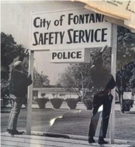 The Fontana Police Department for a time referred to itself as the safety service, or SS for short. Note the Teutonic Rune font used on the printing of the sign.