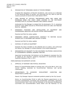 Above is the third page of Exhibit A in the Sid Robinson investigation file. The minutes for the April 24 meeting of the Upland City Council show that the council selected Sid Robinson to act as the city's representative at the May 4 meeting of the Southern California Association of Governments General Assembly.
