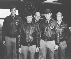 Colonel Doolittle's crew aboard the Hornet, from left to right: (front row) Lt. Col. James Doolittle, pilot; Lt. Richard E. Cole, copilot; (back row) Lt. Henry A. Potter, navigator; SSgt. Fred A. Braemer, bombardier; SSgt. Paul J. Leonard, flight engineer/gunner.